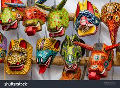 Mayan Wooden Masks For Sale, Chichicastenango, Guatemala, Central ...