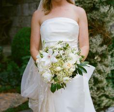 White Magnolia and Green Viburnum Bridal Wedding Bouquet