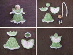 Crochet Angel - for free - Häkeln - Diy Christmas Angel Ornaments, Crochet Christmas Ornaments, Christmas Angels, Crochet Designs, Crochet Patterns, Crochet Doll Tutorial, Preschool Christmas Crafts, Yarn Dolls, Crochet Angels