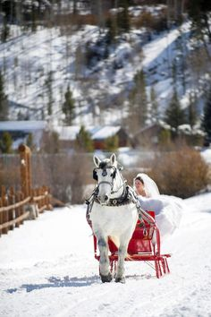 A snowy horseback ride into the wedding ceremony for the bride! {@jameephoto}