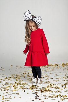 dziewczynka - moda - sukienki-Red Dress - OX