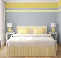 Striped Walls Bedroom, Bedroom Wall, Bedroom Decor, Master Bedroom, Modern Bedroom, Best Bedroom Paint Colors, Buying A New Home, White Rooms, Bedroom Themes