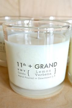 7 oz. Soy Candle  Lemon Verbena by EleventhandGrand on Etsy, $12.00