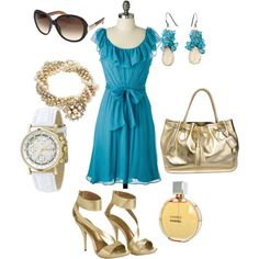 Turquoise & Gold, created by bernierose360 on Polyvore