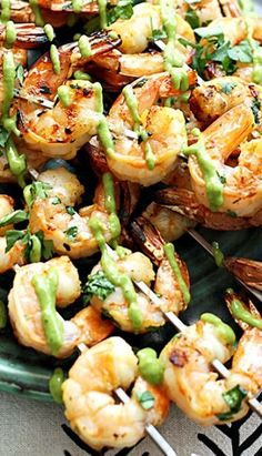 Cilantro Lime Grilled Shrimp and Roasted Poblano Sauce ~ Cilantro lime marinated grilled shrimp topped with a spicy roasted poblano sauce! You won't believe how yummy this healthy and easy grilled shrimp is! Fish Recipes, Seafood Recipes, Great Recipes, Cooking Recipes, Favorite Recipes, Healthy Recipes, Shrimp Dishes, Fish Dishes, I Love Food