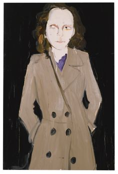 CHANTAL JOFFE B. 1969 NATASHA IN A GREY COAT signed and titled on the reverse oil on panel 182.9 by 121.9cm.; 72 by 48in. Executed in 2009