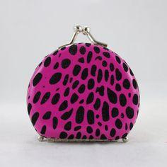Round Leopard Print Jewelry Travel Case - Hot Pink - 2.6L x 2.2W in. - JYW22707PK