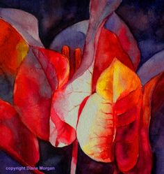 Bougainvillea Glow watercolor class demo, painting by artist Diane Morgan