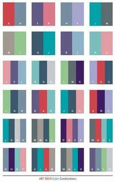 Color Schemes Art Deco color schemes, color combinations, color palettes for print . Colour Pallete, Colour Schemes, Color Patterns, Color Combinations, Color Palettes, Color Charts, Art Deco Colors, Web Design, Design Ideas