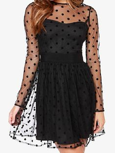Black Sheer Dotted Mesh Spliced Long Sleeve Dress with Back Keyhole Button