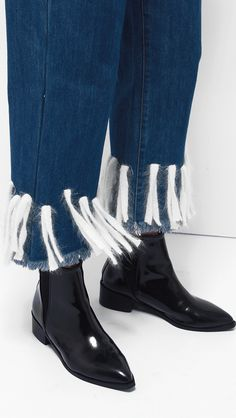 Angora Fur Fringed Denim