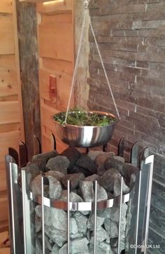 Add fresh herbs to some water and suspend above your sauna stones. Relax and enjoy the beautiful aromas that are released as the herbs warm up.