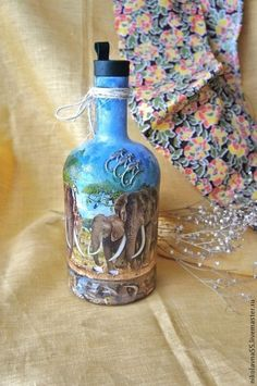 """Подарочное оформление бутылок ручной работы. Ярмарка Мастеров - ручная работа Бутылка """" Африканское сафари"""". Handmade."""