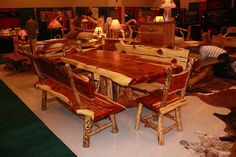 7′ Red Cedar NATURAL SLAB TABLE DINING SET
