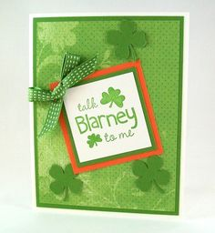 St Patrick's Day Card - Handmade Greeting Card - Talk Blarney to Me with Lucky Green Shamrocks by AcarrdianCards on Etsy https://www.etsy.com/listing/123787821/st-patricks-day-card-handmade-greeting