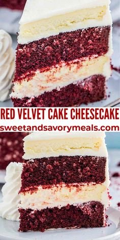 Red Velvet Cake Cheesecake made with layers of creamy cheesecake and red velvet cake covered in cream cheese frosting, it's perfect for Valentine's Day or any other special occasion! #redvelvet #cake #cheesecake #valentinesday #sweetandsavorymeals Delicious Cake Recipes, Easy Cake Recipes, Cupcake Recipes, Yummy Cakes, Easy Desserts, Cupcake Cakes, Dessert Recipes, Keto Desserts, Cupcakes