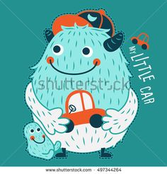 Happy blue monster playing with his child. Colorful children illustration. Vector design.