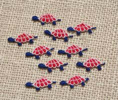 Vintage Sewing Appliques Red White Blue Turtles Set of 10
