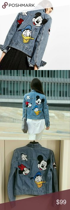 Zara Printed Denim jacket Mickey Disney XS or S Brand new with tag attached, unworn. Zara denim jacket with Disney Minnie Mickey Donald patches. Size XS or S. Small measurements: length about 20 inches, sleeve about 24 inches, armpit to arplmpit across about 17.75 in. Mickey image on buttons, so cute! I love jean jackets with functional pockets! From Zara AW 16 collection. Sold out, fantastic collectible wardrobe piece for Zara & Disney fans! Zara Jackets & Coats Jean Jackets