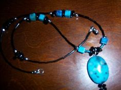 Turquoise Pendant Black Necklace 18 inches
