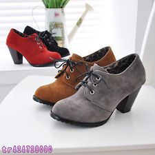 Vintage Women's Thick High Heel Ankle Boots Shoes Lace Up US Size 4-10.5 Y137