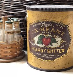 The charm of old tins and the beautiful graphics are worth collecting and preserving. They also are wonderful for storing odds and ends. Check out your local antique store and see what old tins you can find. Antique Stores, Tins, Vodka Bottle, Mall, Peanut Butter, Graphics, Canning, Antiques, Tableware