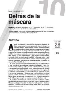 Leccion joven DETRÁS DE LA MÁSCARA by Escuela Sabatica via slideshare #LESAdv Descargue aqui: http://gramadal.wordpress.com/