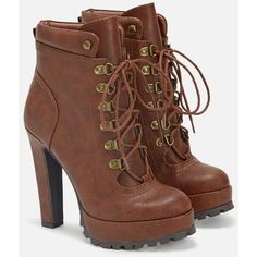Justfab Booties Linanyi ($45) ❤ liked on Polyvore featuring shoes, boots, ankle booties, heels, ankle boots, brown, high heel bootie, block heel booties, brown ankle boots and lace up ankle boots