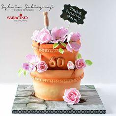 Flower pots  cake - cake by Sylwia Sobiegraj The Cake Designer