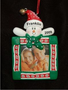 Snowman Frame for Baby Boy - Personalized First Christmas Ornament