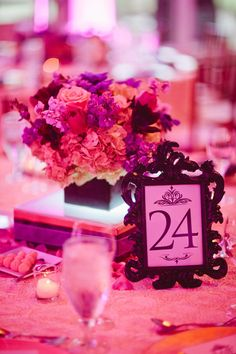 flower arrangement with table number