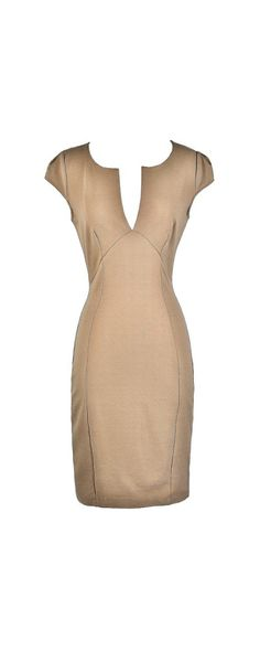 Check Your Calendar Capsleeve Fitted Dress in Beige  www.lilyboutique.com