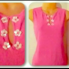 Pink sleeveless top w/ floral trim Pretty pink top by Sigrid Olsen Sport.  It's sleeveless with a keyhole neckline.  There are little flowers around the neckline made of tiny mother-of-pearl shells.  Perfect for spring!  Fabric is 53% cotton, 47% rayon.  Worn a few times but EUC. Sigrid Olsen Tops