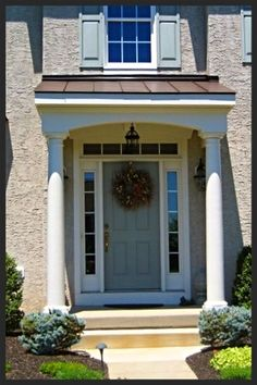 But squared columns Front Porch Addition, Front Door Porch, Front Porch Design, Front Door Entrance, Porch Roof, Colonial Exterior, Modern Farmhouse Exterior, Exterior Doors, Roof Design