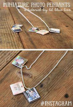 Make little photo pendants to wear around your neck.