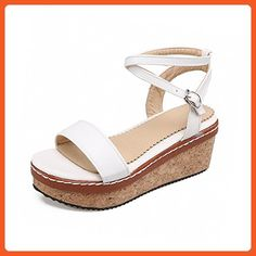 259ad748df VogueZone009 Women s Solid Pu Kitten Heels Open-Toe Buckle Sandals