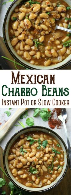 Simple Mexican Charro Beans - flavored with garlic, tomatoes, cilantro and lots of spices! They are the perfect beans to accompany your favorite Mexican entree! Beans In Crockpot, Slow Cooker Beans, Crockpot Recipes, Oven Recipes, Easy Recipes, Cooking Recipes, Mexican Beans Recipe, Mexican Food Recipes, Mexican Cooking