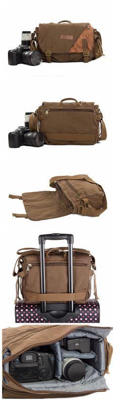 Waxed Canvas DSLR Camera Bag, Messenger Bag, Diaper Bag