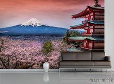 Fuji Mountain Photo WALLPAPER MURAL Japan Sakura Tree POSTER Wall ART Room Decor