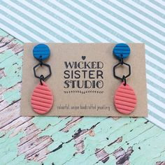 Coral and Blue dangle earrings, Crinkle dangle earrings, Statement earrings, Art dangles handmade by WickedSisterStudio by WickedSisterStudio on Etsy https://www.etsy.com/au/listing/583066899/coral-and-blue-dangle-earrings-crinkle