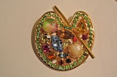 Vintage Signed Weiss Rhinestone Painters Palette Brooch Pin High End Collectible #Weiss