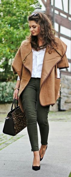 Fashion Hippie Loves - Poncho coat, white blouse shirt, olive zara skinnies, leopard handbag and pumps.