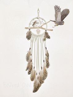 The Barred Owl Dreamcatcher - Natural Wood Branch Dream Catcher, Leather Lace with Accent feathers, Beads, Hanging Crystal or Gemstone