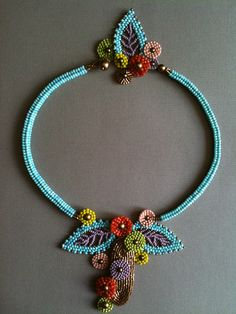 Mid-Century Modern Necklace.  Seed bead woven, bead embroidery.  Vintage and new seed beads