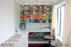 sewing room organization...great idea with the bin at the bottom- I wish.