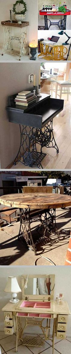 DIY Inspiration :: Site has 25 good ideas for repurposing antique sewing machine bases & cabinets  #reuse #repurpose