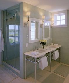 decoration wonderful cottage style bathroom lights using wall mounted lamp shades and recessed framed mirrored medicine cabinet over stainless steel vanity base with white bath sheet towels Small Cottage Bathrooms, Coastal Bathrooms, Small Bathroom, Glass Bathroom, Family Bathroom, Contemporary Bathrooms, Bathroom Vanities, Basement Remodel Diy, Basement Remodeling