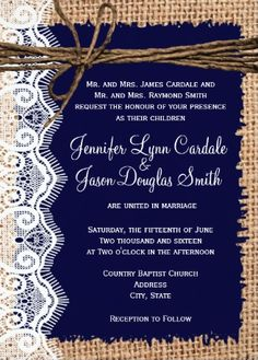 Rustic Country Navy Blue and Burlap Lace Twine Wedding Invitations.  Two Sided Printed Design.  The back side is burlap print.  Your choice of paper.  Cheap Discount Sale Price of 40% OFF when you order 100+ Invites.  #wedding #countrywedding #weddinginvitations #burlap