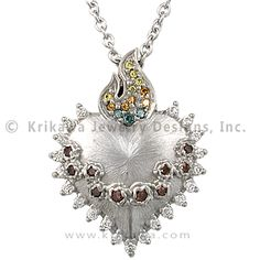 Sacred Heart Pendant - This flaming heart pendant is adorned with paved fancy color diamonds. The thorns are represented by sculpted bezels. Pick White Diamonds for the pricing as shown.