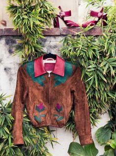 Inside Fashion Stylist Sophie Lopez's Closet: Suede Western Style Coat with Red and Green Rose Details, Red High Heels, both by Miu Miu | coveteur.com